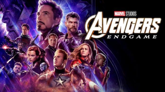 Un primo piano di Robert Downey Jr. del poster ufficiale di Avengers: Endgame