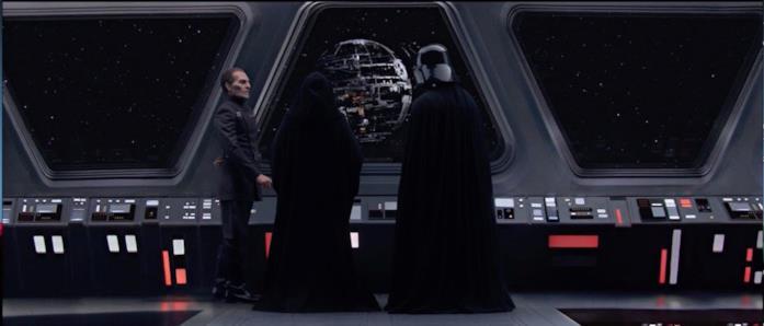 Vader, Tarkin e l'Imperatore osservano la Morte Nera in costruzione