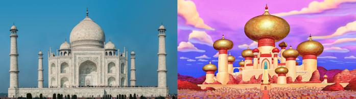Il Taj Mahal e il castello del film Aladdin a confronto