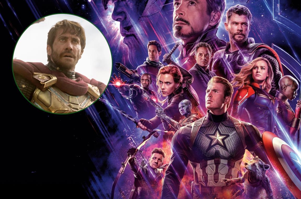 A sinistra Mysterio, a destra gli Avengers nel poster di Avengers: Endgame