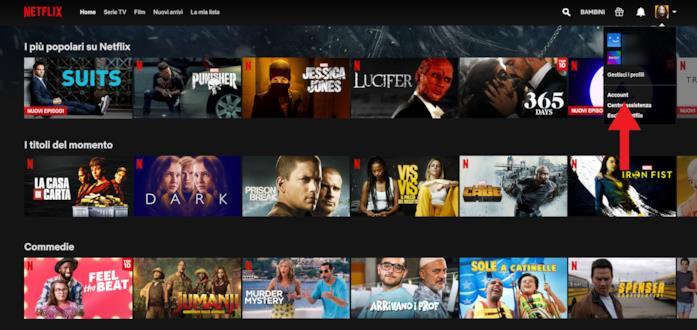 La Home di Netflix e il menu a tendina in alto a destra