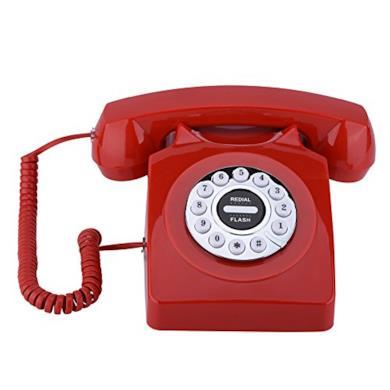 VBESTLIFE Telefono Fisso Telefono Antico d'Epoca Memoria Digitale Portatile di Stile Occidentale Stile Vintage Numeri Telefono Rotativo di Archiviazione retrò con Riduzione del Rumore per Casa(Red)