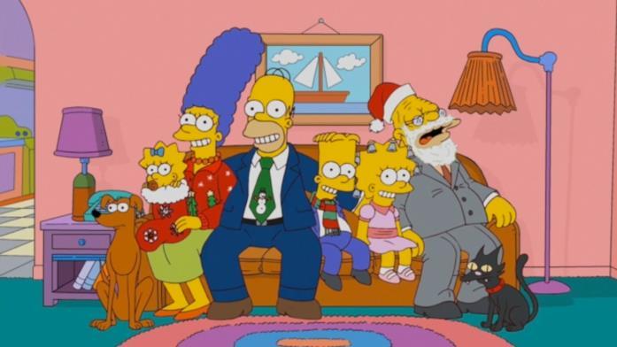 Maggie, Marge, Lisa, Homer e Bart dalla serie I Simpson