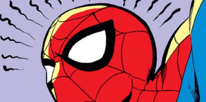 Il manifestarsi del senso di ragno illustrato su una tavola di un fumetto di Spider-Man