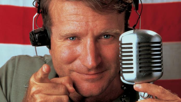 Un'immagine promozionale con Robin Williams del film Good Morning, Vietnam