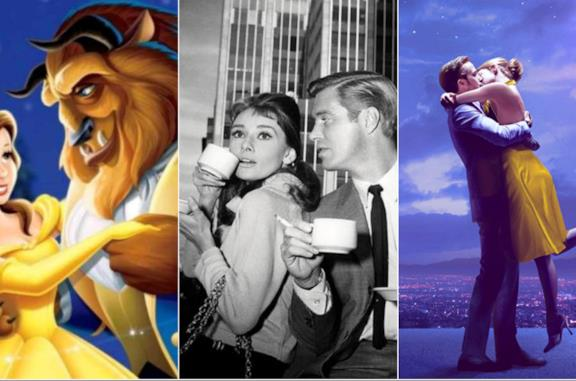Collage tra La Bella e la Bestia, Colazione da Tiffany, La La Land