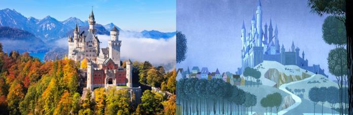 Il castello di Neuschwanstein a confronto con quello de La bella addormentata nel bosco