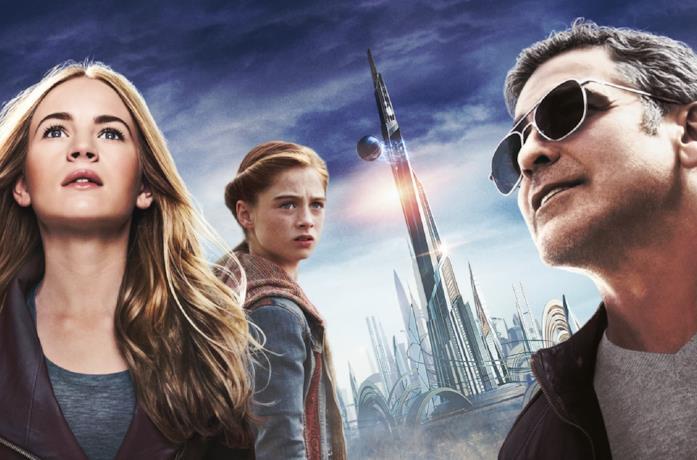 I protagonisti di Tomorrowland: Frank, Casey e Athena