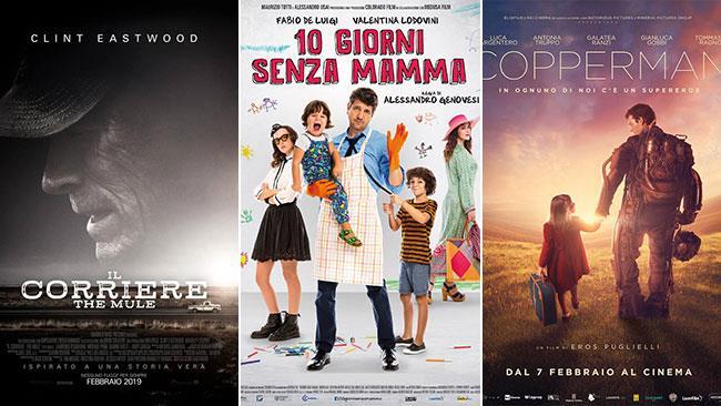 I poster dei film Il corriere - The Mule, 10 giorni senza mamma, Copperman