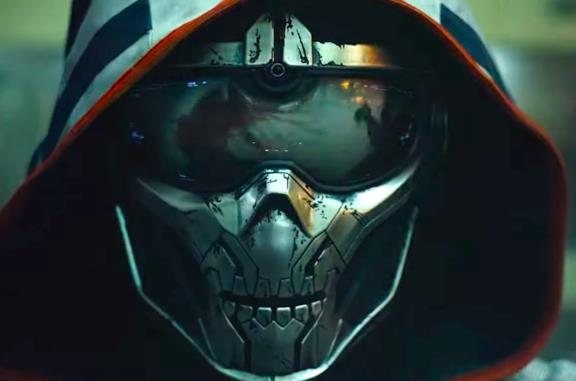 La maschera a forma di scheletro che copre il volto di Taskmaster