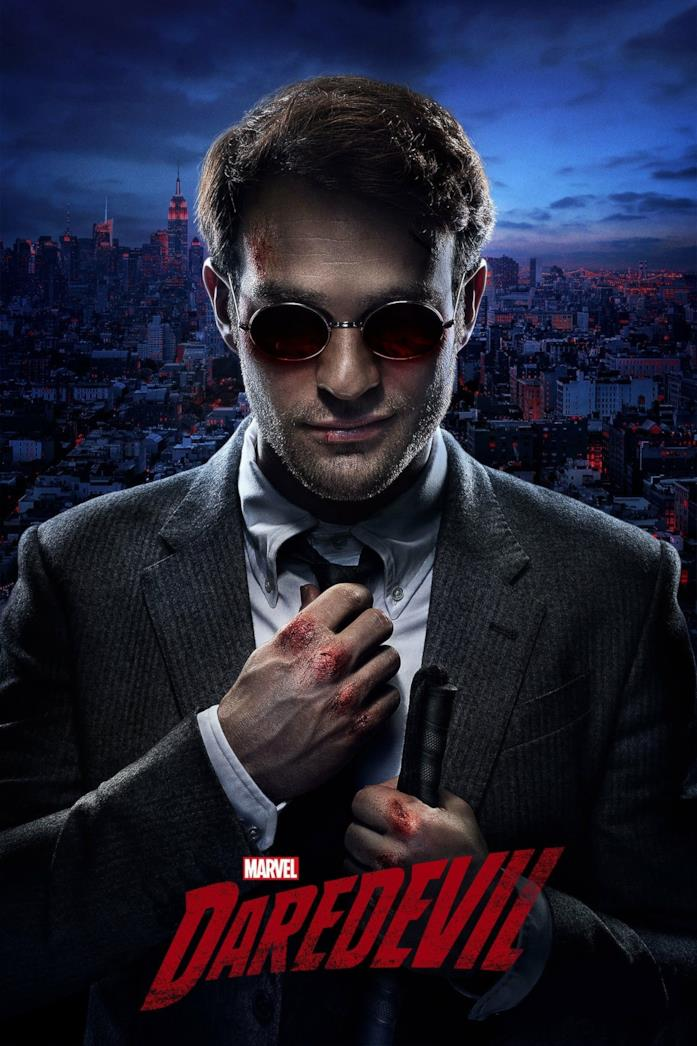 Primo piano di Charlie Cox nella locandina di Daredevil