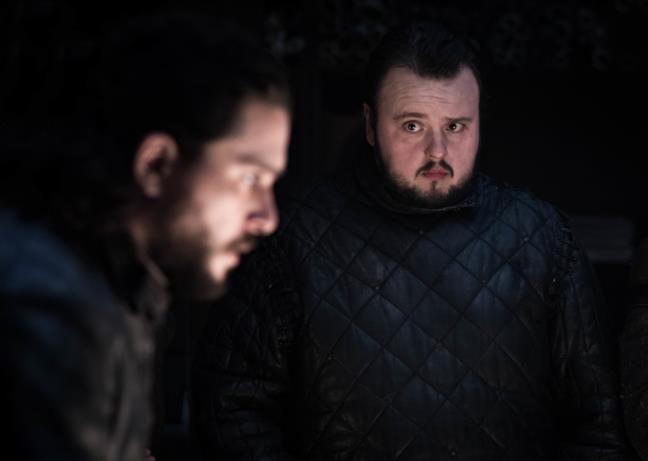 Jon Snow/Aegon Targaryen e Sam Tarly in GoT 8x02
