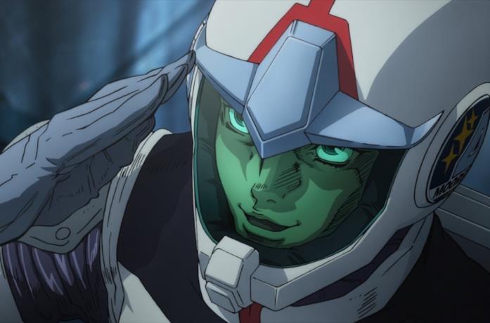 Una scena dell'anime Mobile Suit Gundam Thunderbolt di Yasuo Ohtagaki
