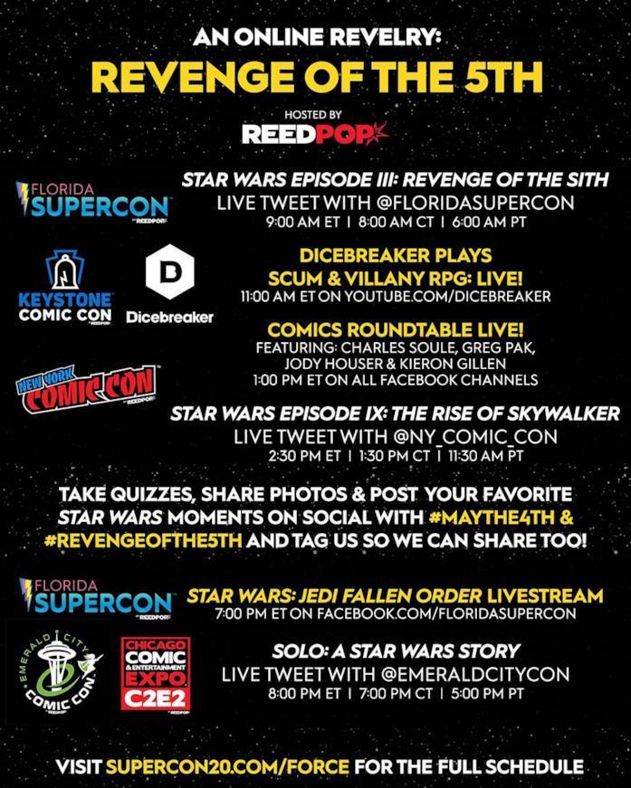 Il programma per la convention di Star Wars del 5 maggio