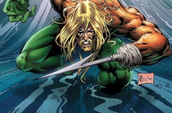 Disegno di Aquaman in atteggiamento aggressivo, con mano uncinata in primo piano