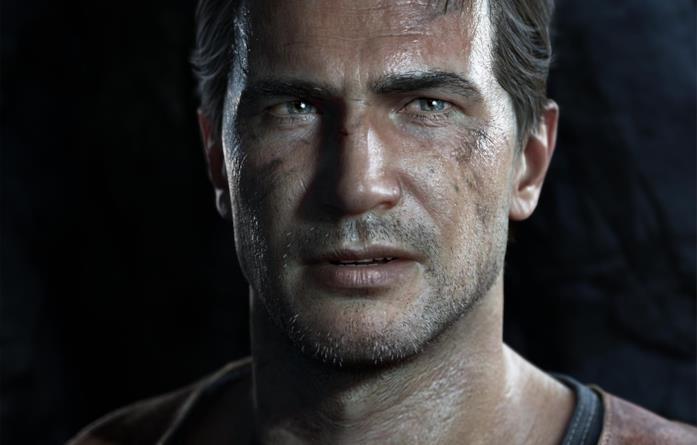 Un primo piano di Nathan Drake da Uncharted 4
