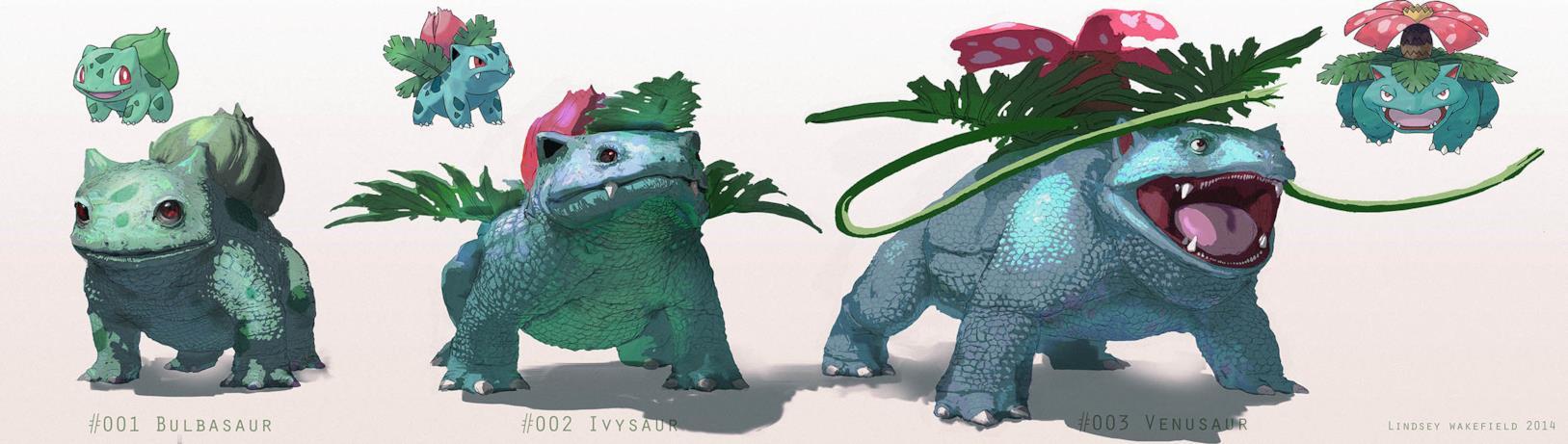 Le iper-realistiche evoluzioni di Bulbasaur disegnate da Lindsey Wakefield