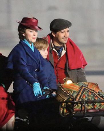 Un momento delle riprese di Mary Poppins a Londra