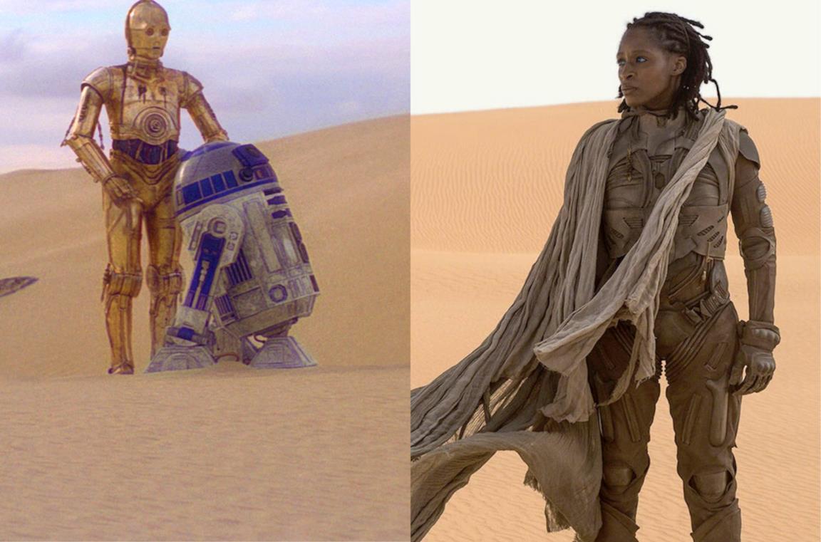 A sinistra i droidi di Star Wars e a destra un personaggio del nuovo Dune