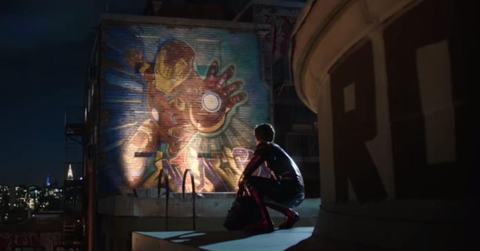 Il murale dedicato ad Iron Man in una scena di Spider-Man: Far From Home