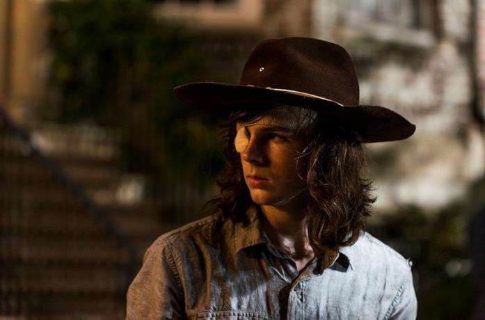 L'attore Chandler Riggs nel ruolo di Carl in The Walking Dead