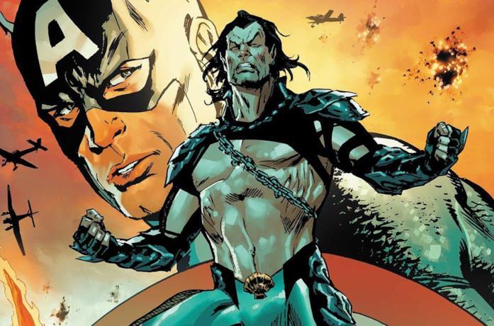 Un'immagine di Namor e Captain America nei fumetti Marvel Comics