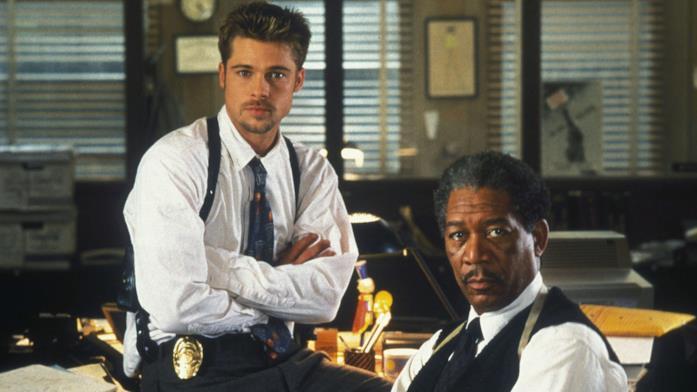 Brad Pitt e Morgan Freeman sul set di Seven