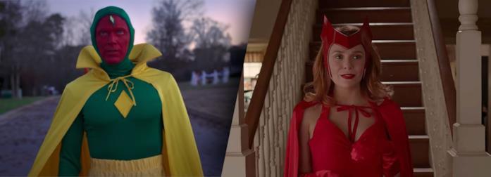 Visione (sinistra) e Wanda (destra) in scene di WandaVision