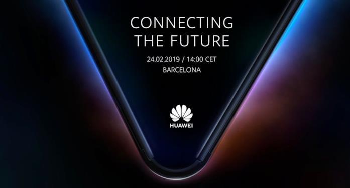 Immagine promozionale di Huawei per la presentazione dello smartphone pieghevole al MWC 2019