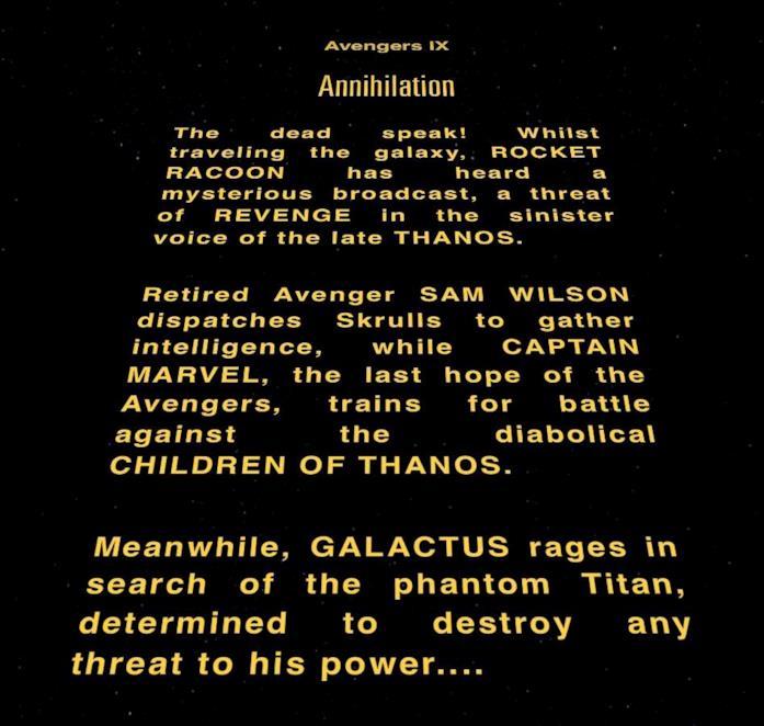 L'opening crawl di un ipotetico Avengers IX realizzato da un fan