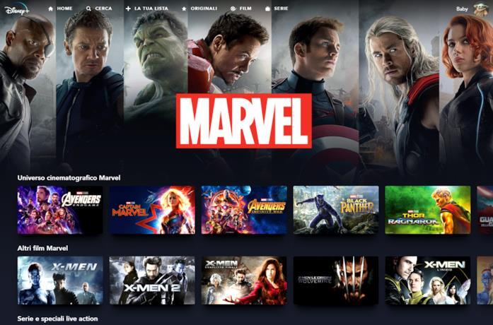 Schermata Disney+ Marvel