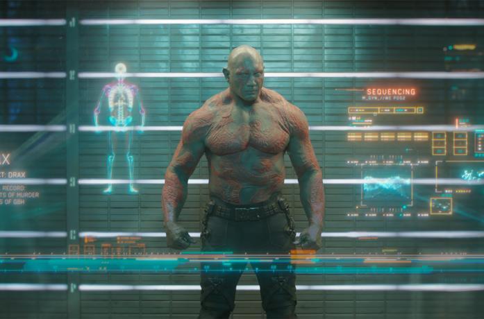Drax (Dave Bautista) in una scena di Guardiani della Galassia Vol. 1