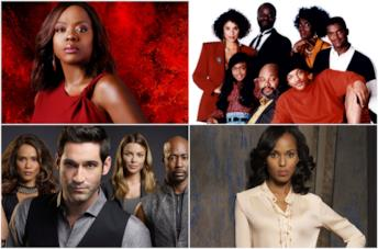 Primi piani del cast di How to Get Away with Murder, The Fresh Prince of Bel-Air, Lucifer e Scandal