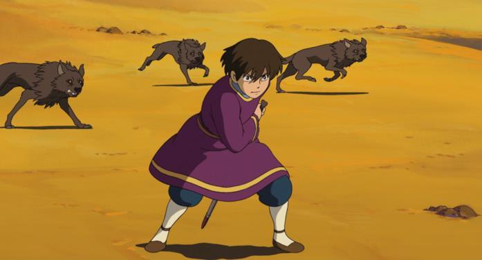 Arren combatte contro i lupi nel deserto