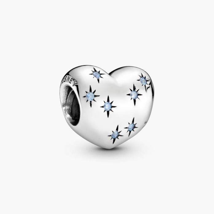 Gioiello Pandora a forma di cuore Cenerentola con pietre blu