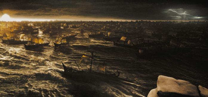 La battaglia navale in una scena del film 300