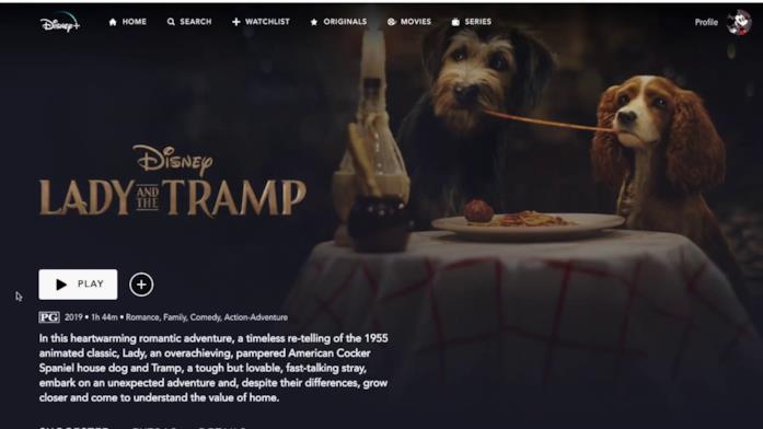 La schermata principale della scheda del film di Disney+