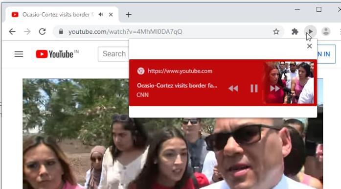 Il player della nuova funzione Global Media Controls di Google Canary