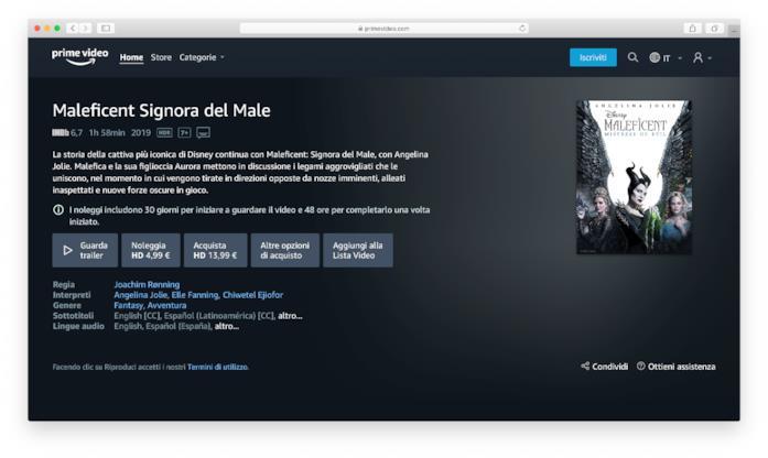 La scheda di Maleficent Signora del Male su Amazon Prime Video Store