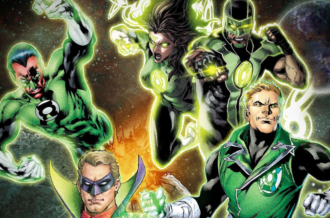 Alcuni membri del Corpo Lanterne Verdi stanno fluttuando nello spazio