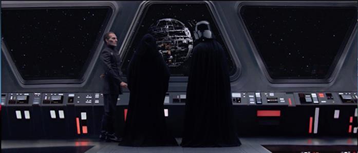 Darth Vader, l'Imperatore e Tarkin osservano la Morte Nera