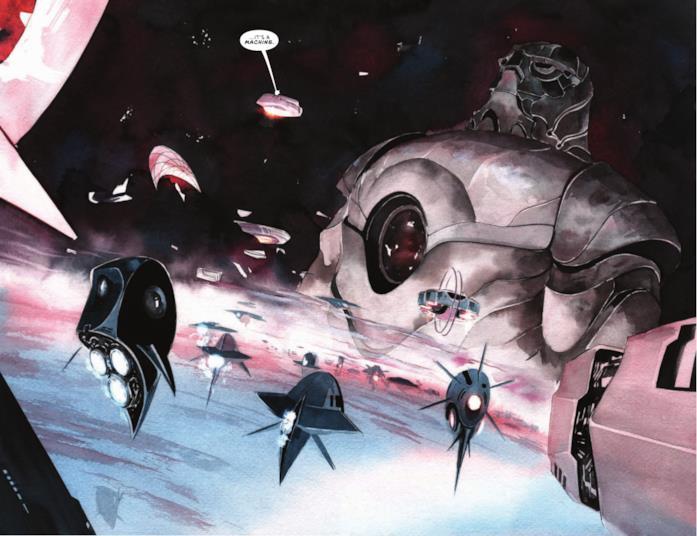 Una porzione di un fumetto della saga Descender