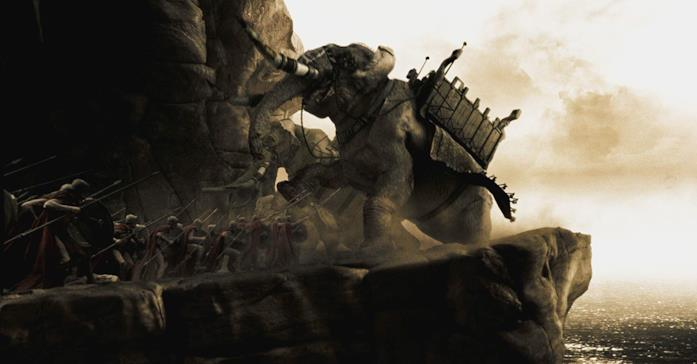 Un elefante da guerra in una scena del film 300