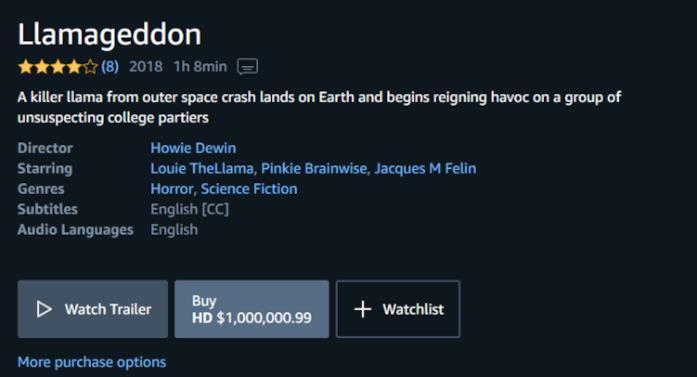 Il prezzo di Llamageddon su Amazon Prime Video.