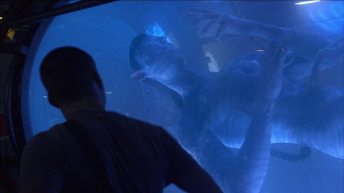 Jake Sully, dentro il laboratorio, guarda il suo avatar, ancora inanimato.
