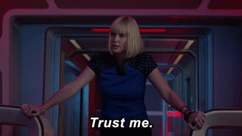 Charlize Theron in una scena di The Orville