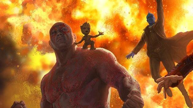 Drax il Distruttore con Baby Groot sulla spalla