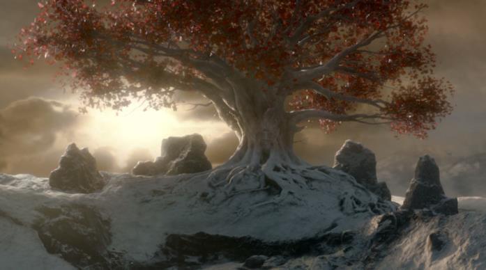 Un albero-diga sulla caverna del Corvo a Tre Occhi in Game of Thrones