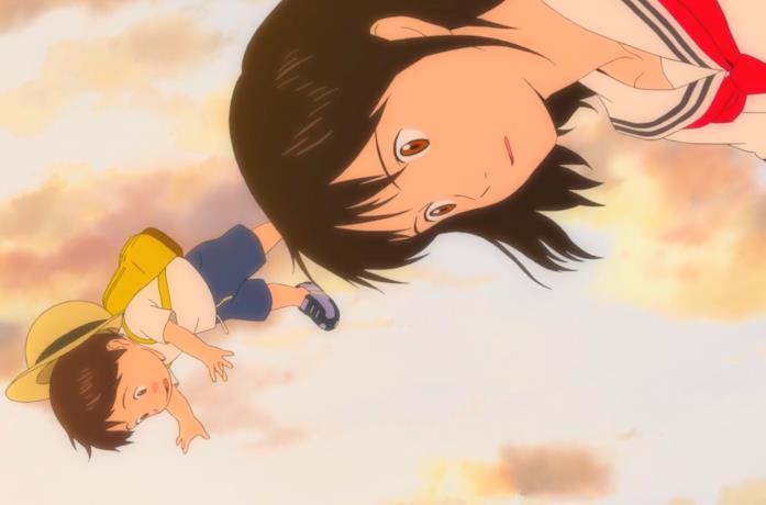 Kun e Mirai in una scena del film d'animazione di Mamoru Hosoda