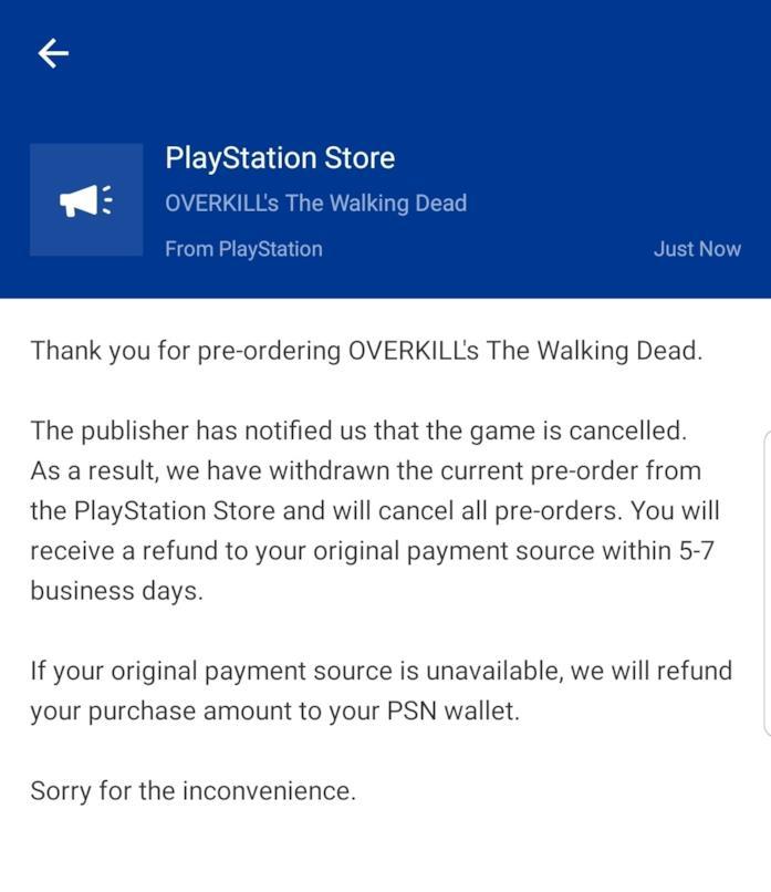 Una mail da Sony parla della cancellazione di Overkill's The Walking Dead su PS4